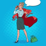 Pop Art Business Woman Late at Work. Busy Girl with Morning Coffee. Vector illustration royalty free illustration