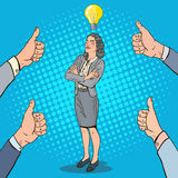 Pop Art Business Woman with Light Bulb Royalty Free Stock Images