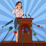 Pop Art Business Woman on Mass Media Interview. Press Conference. Vector illustration Royalty Free Stock Photos