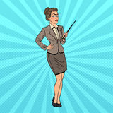 Pop Art Business Woman with Pointer Stick Stock Photography
