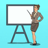 Pop Art Business Woman with Pointer Stick Stock Images