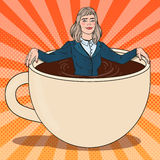 Pop Art Business Woman Relaxing in Coffee Cup Stock Images