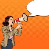 Pop Art Business Woman Shouting i megafon Arkivbild