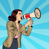 Pop Art Business Woman Shouting in Megaphone. Vector illustration Stock Image
