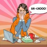 Pop Art Business Woman Sneezing Flicka med influensa på arbete Arkivbilder
