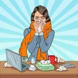 Pop Art Business Woman Sneezing på arbete Flicka som känner sig sjuk Fotografering för Bildbyråer