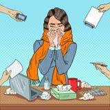 Pop Art Business Woman Sneezing på kontorsarbete Royaltyfria Foton
