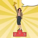 Pop Art Business Woman Standing on Podium vector illustration
