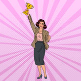 Pop Art Business Woman Winner with Golden Cup Royalty Free Stock Photography