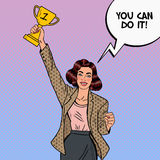 Pop Art Business Woman Winner with Golden Cup Stock Photography