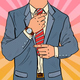Pop Art Businessman Adjusting Neck Tie Manlig affärsmodestil vektor illustrationer