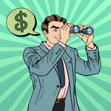 Pop Art Businessman with Binoculars Looking for Money. Vector illustration Royalty Free Stock Image