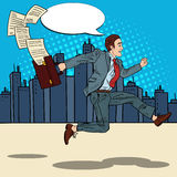 Pop Art Businessman with Briefcase Running to Work through the City Royalty Free Stock Image