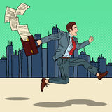 Pop Art Businessman with Briefcase Running to Work through the City Stock Image