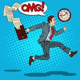 Pop Art Businessman with Briefcase Running to Work Royalty Free Stock Photography