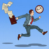 Pop Art Businessman with Briefcase Running to Work Royalty Free Stock Photo