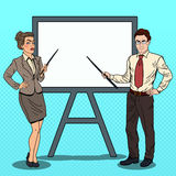 Pop Art Businessman and Business Woman with Pointer Stick and White Board. Vector illustration Royalty Free Stock Photo