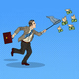 Pop Art Businessman Catching Flying Money Stock Fotografie