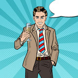 Pop Art Businessman with Champagne Glass on Holiday Celebration Party. Vector illustration Stock Photos