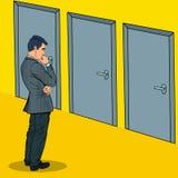 Pop Art Businessman Choosing the Right Door Stock Photos