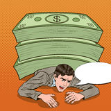 Pop Art Businessman Crushed by Huge Pile of Cash Royalty Free Stock Photography