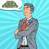 Pop Art Businessman Dreaming About Money royalty-vrije illustratie