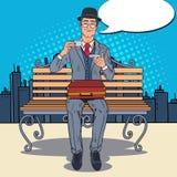 Pop Art Businessman Drinking Tea on the Bench in the City. Coffee Break. Vector illustration Stock Image