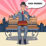 Pop Art Businessman Drinking Tea on the Morning in the City. Coffee Break. Vector illustration Stock Image