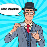 Pop Art Businessman Drinking Tea on the Morning. Coffee Break. Vector illustration Royalty Free Stock Image