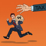 Pop Art Businessman Escapes Taxes with Money Bag Royalty Free Stock Photography