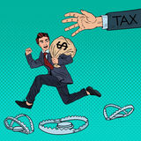 Pop Art Businessman Escapes Taxes with Money Bag Royalty Free Stock Image