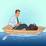 Pop Art Businessman Floating in the Boat. Escape from Work to Vacation. Vector illustration Stock Photos