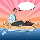 Pop Art Businessman Floating in the Boat. Summer Vacation. Vector illustration Stock Photography