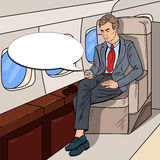 Pop Art Businessman Flying Airplane and Texting Message on Cellphone Royalty Free Stock Image