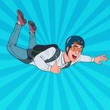 Pop Art Businessman Flying met Valscherm Gelukkige Mensenparachutist Skydiver in de Lucht vector illustratie