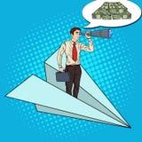 Pop Art Businessman Flying Paper Plane och söka efterpengar i kikare Arkivfoto