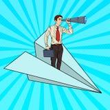 Pop Art Businessman Flying Paper Plane och se i kikare Royaltyfria Bilder