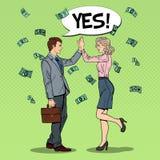 Pop Art Businessman Giving High Five aan Bedrijfsvrouw Het vallen onderaan Geld Stock Afbeelding