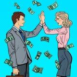 Pop Art Businessman Giving High Five aan Bedrijfsvrouw Het vallen onderaan Geld Royalty-vrije Stock Afbeeldingen