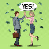 Pop Art Businessman Giving High Five to Business Woman. Falling Down Money Stock Image