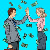 Pop Art Businessman Giving High Five to Business Woman. Falling Down Money Royalty Free Stock Images