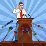 Pop Art Businessman Giving Press Conference. Mass Media Interview. Vector illustration vector illustration