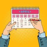 Pop Art Businessman Hand Planning Calendar-Datum Royalty-vrije Stock Afbeeldingen