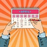 Pop Art Businessman Hand Planning Calendar-Datum Royalty-vrije Stock Foto