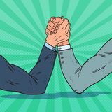 Pop Art Businessman Hands Armwrestling. Business Rivalry. Confrontation at Work. Vector illustration Royalty Free Stock Photos