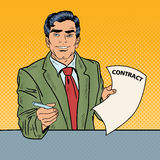 Pop Art Businessman Holding a Pen for Signing Contract Royalty Free Stock Photo