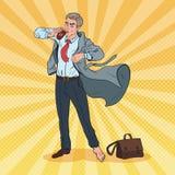 Pop Art Businessman Late som arbetar Man med kontoret för kaffebrådska upp till stock illustrationer