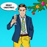 Pop Art Businessman med Champagne Glass på berömpartiet för glad jul Arkivfoto