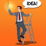 Pop Art Businessman med stegen och lightbulben vektor illustrationer