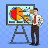 Pop Art Businessman with Pointer Stick Presenting Business Chart Stock Image